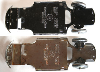 CKO Kellermann Germany Volkswagen beetle 40's front tires, back bumper and chassis original tin toy part