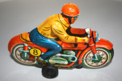 Portillo Technofix Western Germany 60's friction tin Motorcycle 8 Racing original tin toy