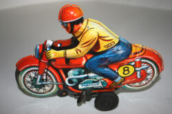 Portillo México Technofix Western Germany 60's wind up tin Motorcycle 8 Racing original tin toy
