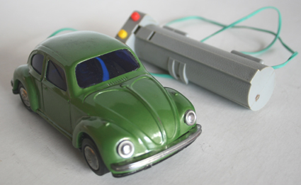Takatoku T.T Japan 60's Volkswagen with hand control battery operated original tin toy car