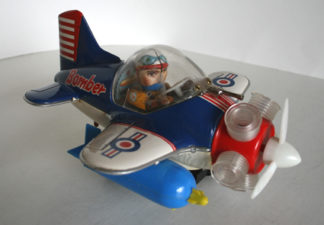 Yoshiya KO Japan 60's battery operated Airplane Fighter Bomber original tin toy