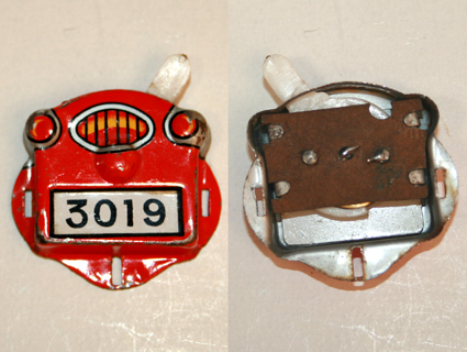 Masudaya Modern Toys tin Switch plate licence by Fire Patrol Motorcycle original tin toy part