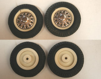 Joustra France Peugeot 404 60's two tires with tin hubcaps and plastic Wheels original tin toy part