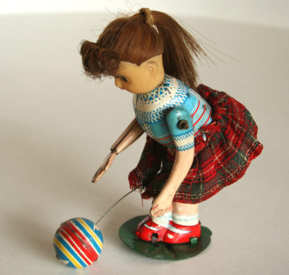 Toplay T.P.S. Japan Girl Bouncing Ball 60's wind up original tin toy