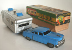Shioji S.S.S Japan House Trailer friction caravan 50's in box original tin toy car