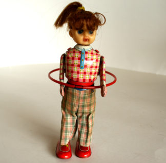 Japan Hula Hoop Girl 60's wind up original tin toy