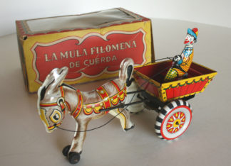 Plasti Marx México by Marx wind up tin mule donkey Clawn, La Mula Filomena 50's in box with transparent window original tin toy