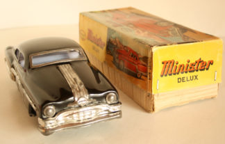 AmarToy Delhi Pontiac 1954 Minister Delux Friction in box 10.5 inches (26.5 cm) original tin toy car Item 1AmarToyTFCbx
