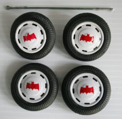 Tires with hubcaps and rear axle red Batmobile plastic chassis Taiwan
