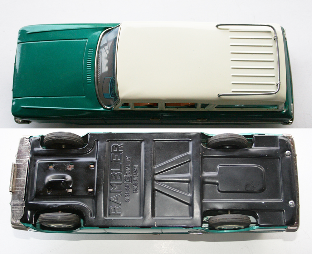 bandai japan 60 s nash rambler station wagon friction inches 27 cm original tin toy car. Black Bedroom Furniture Sets. Home Design Ideas