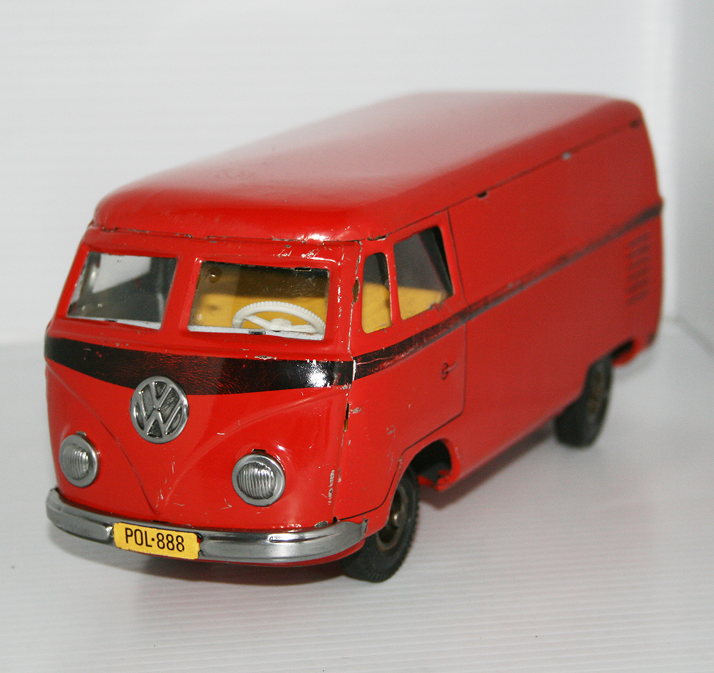 Tipp & Co. Lemy Poliumex México 60's Volkswagen Transporter Panel Van friction 9.5 Inches (24cm) original tin toy car