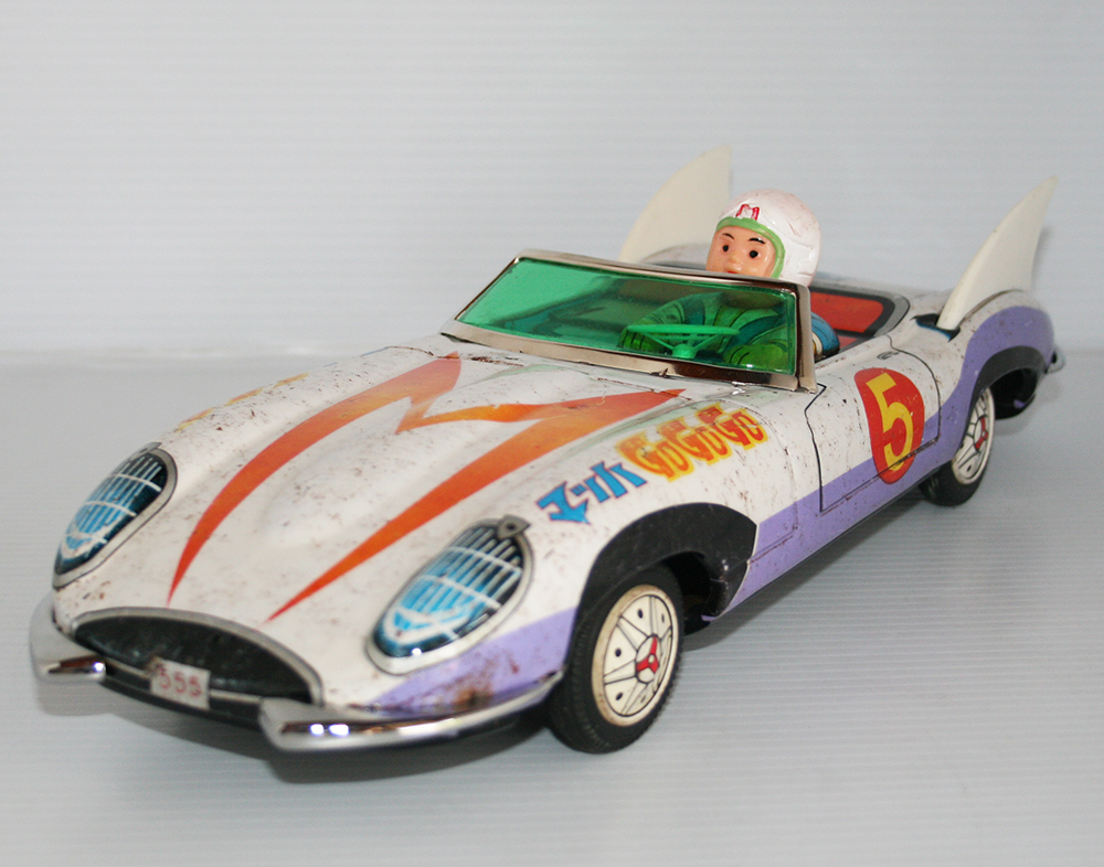 Aoshin ASC Japan 60's Meteoro's Big Mach 5 Go Go Go Jaguar Friction 14.75 inches (37.5 cm) original tin toy car