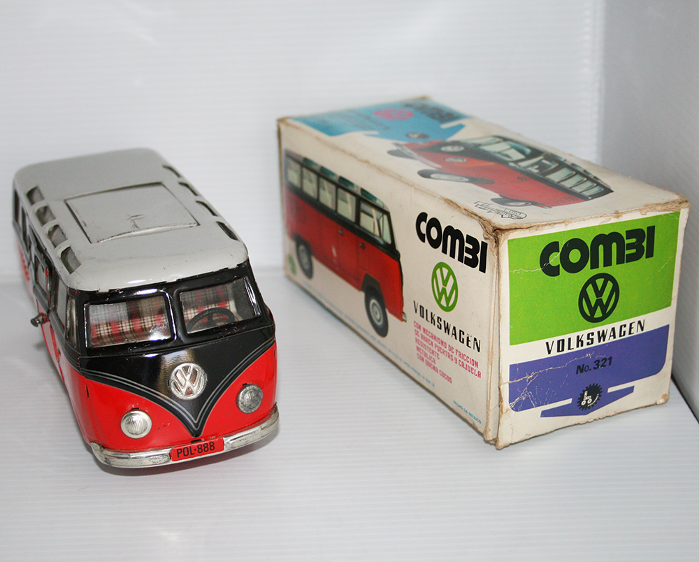 TippCo. Lemy, Poliumex, México, Germany 60's Red Volkswagen Transporter Micro-Bus friction, in Box 9.5 Inches (24cm) original tin toy car