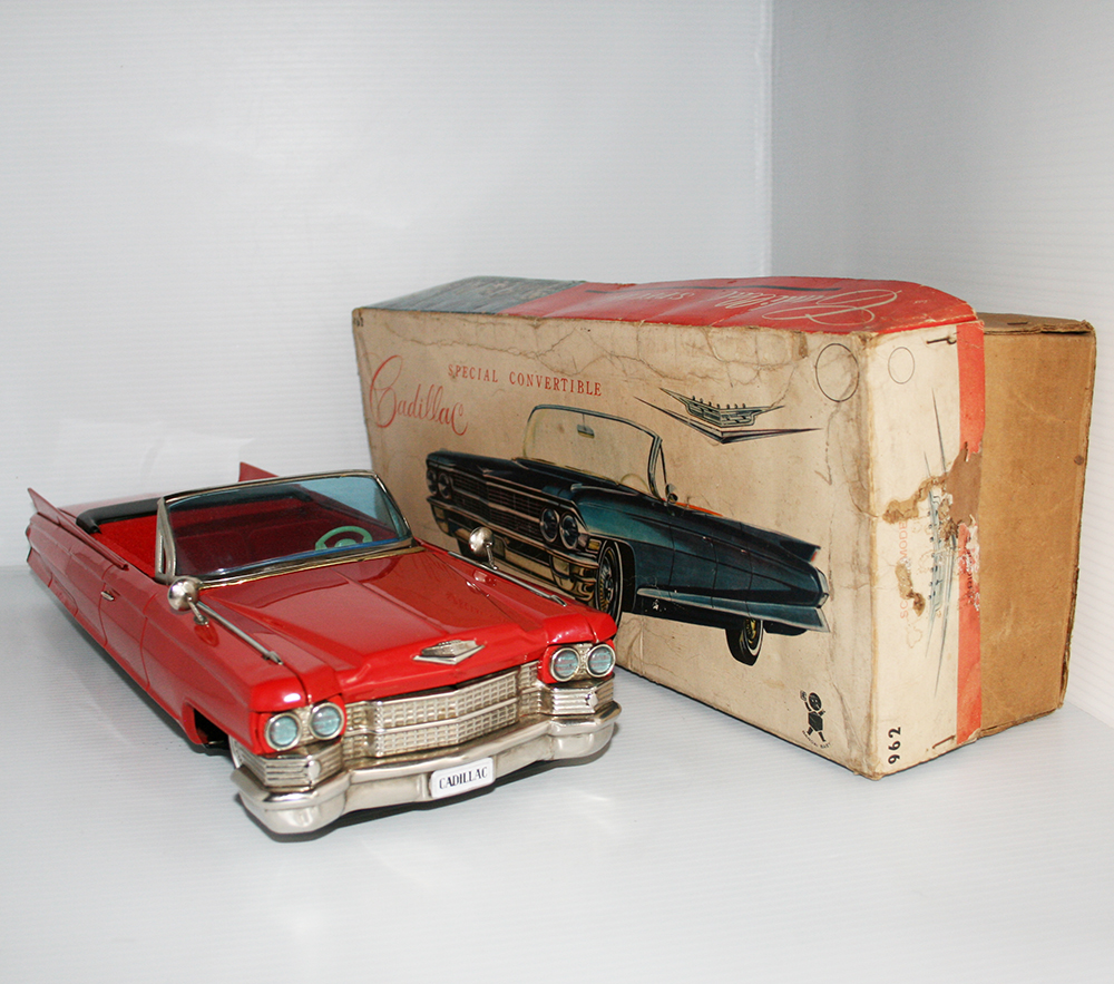 Bandai Japan 60's Cadillac Special Convertible in Box Friction 17 inches (43 cm) original tin toy car