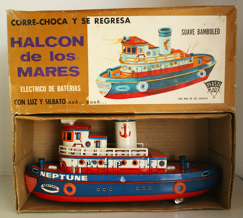 PlastiMarx México 60's 70's Tug Boat Neptune in Box Battery Operated 14.5 inches (37 cm) original tin toy boat
