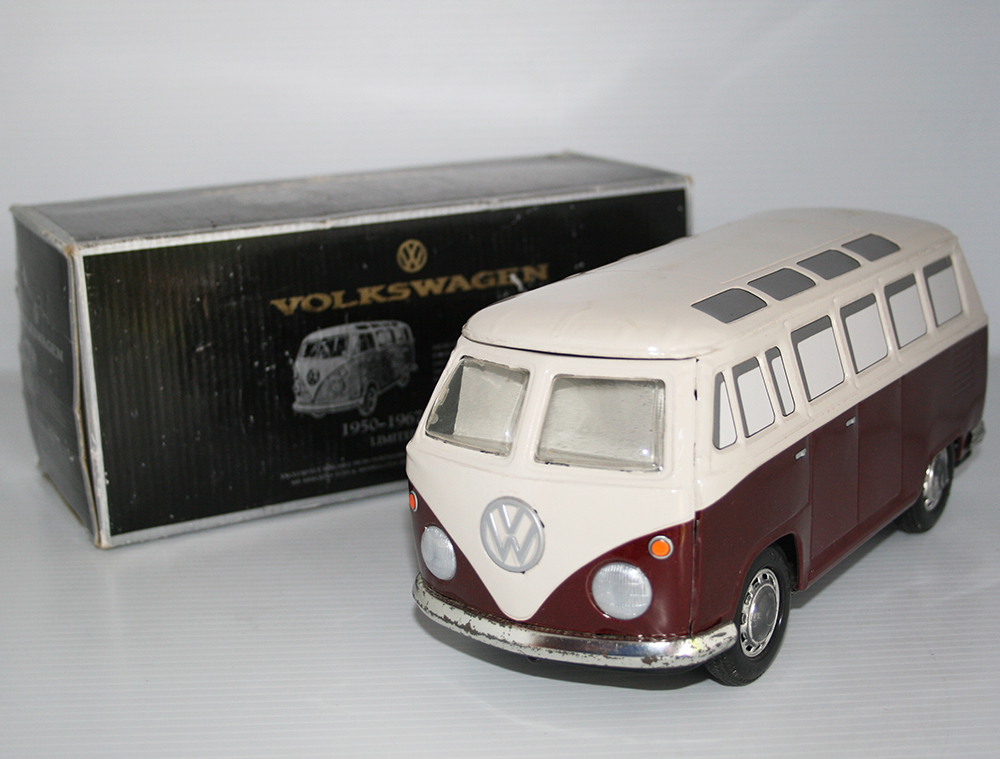 "Ichiko 90's Volkswagen 1950-1967 ""SAMBA"" Limited Edition, in Box, Friction 10.25 inches (26 cm) original tin toy car"