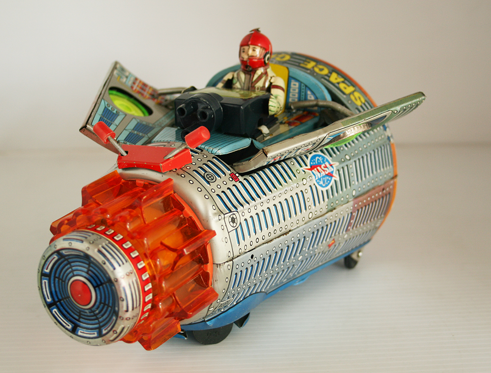 Horikawa S.H 60's New Space Capsule Battery Operated 10 inches (25.5 cm) original tin toy space