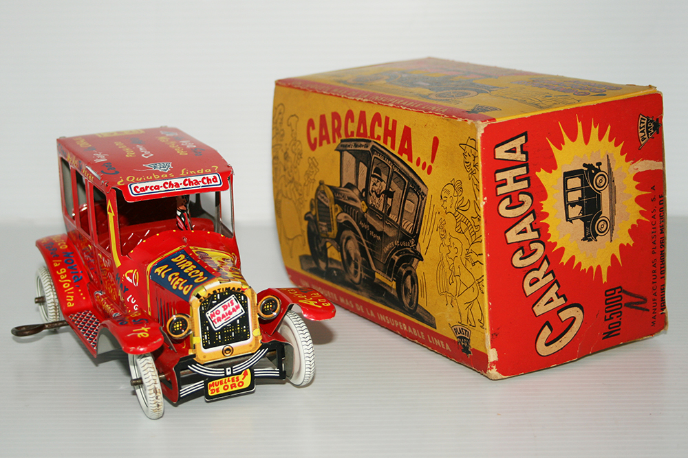 PlastiMarx, Marx México 50's 60's Tin Red Jalopy in box Windup 7 inches (18 cm) original tin toy car