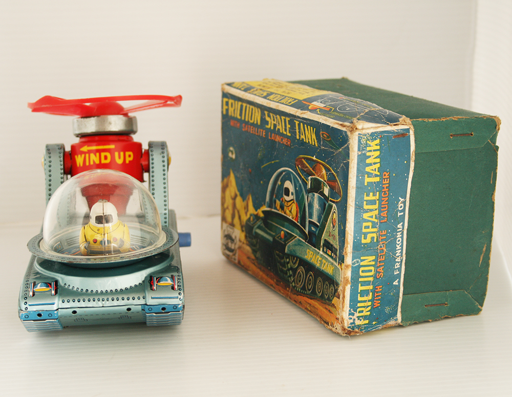 Yonezawa, Japan 50's 60's Space Tank X-20 in Box Friction 6 inches (15 cm) original tin toy space tank