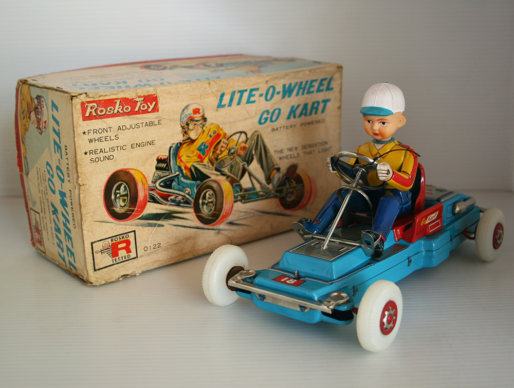Nomura Rosko Japan 60's Lite-O-Wheel Go Kart in Box Battery Operated 10.25 inches (26 cm) original tintoycar