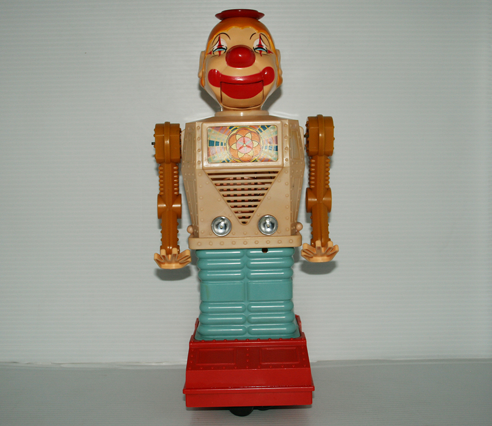 Yonezawa Straco 60's Chuckling Charlie, The Hysterical Laughing Clown Robot  Battery Operated 14 inches (35.5 cm) original tin toy robot