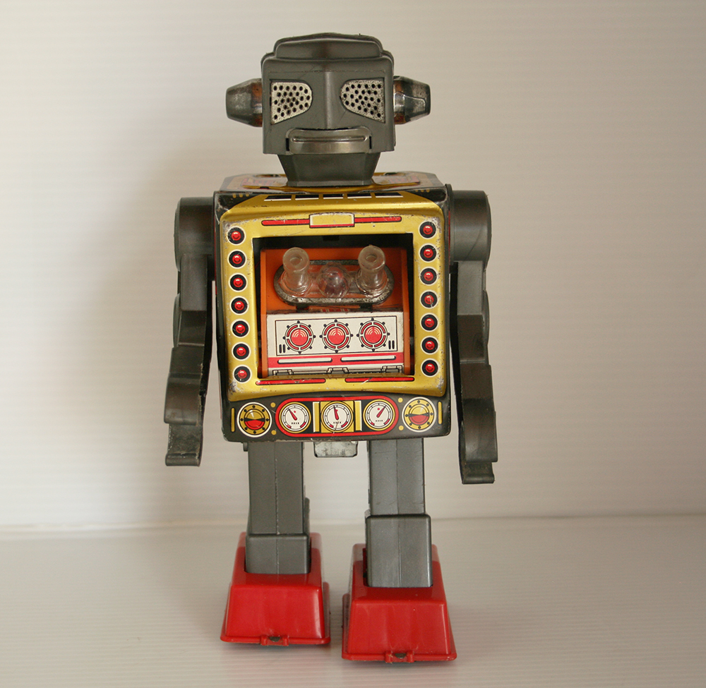 Horikawa 60's Attacking Martian Robot Battery Operated 9.50 inches (24 cm) original tin toy Space Robot