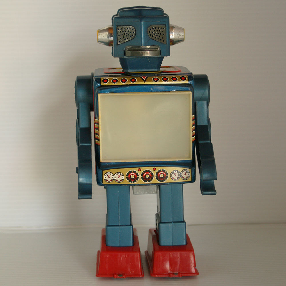 Horikawa 60's Video Robot Battery Operated 9.50 inches (24 cm) original tin toy Space Robot