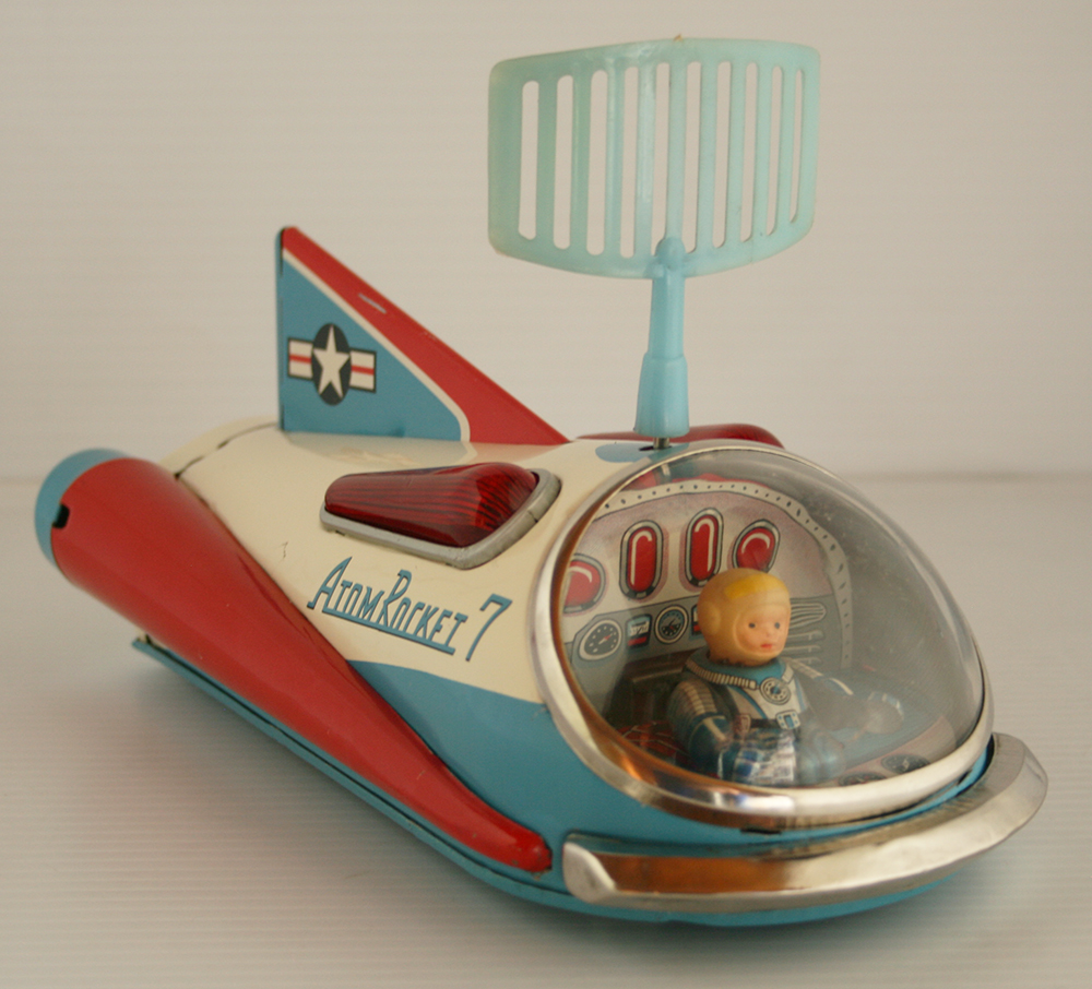 Masudaya MT 60's Atom Rocket 7 Battery Operated 9.5 inches (24 cm) original tin space toy