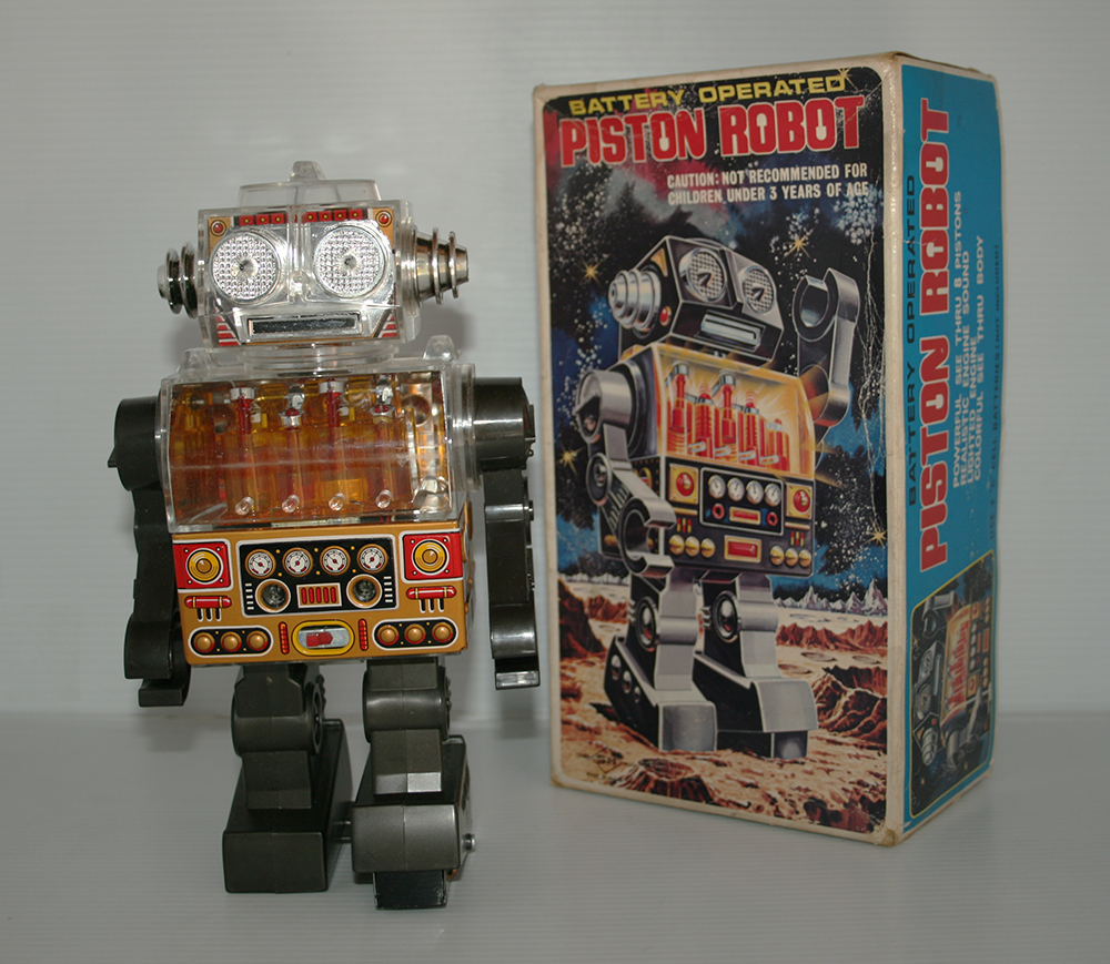 Horikawa 60's 70's Piston Robot in Box Battery Operated 10.50 inches (27 cm) original tin toy Space Robot