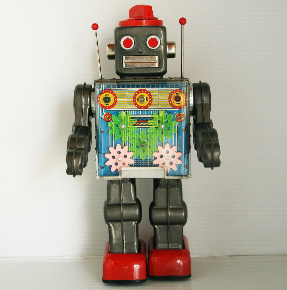 Horikawa 60's Dark Gray Gear Robot Battery Operated 11.5 inches (29 cm) original tin toy robot